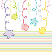 Hanging stars and flowers — Stock Vector