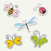 Cartoon Insects. — Stock Vector