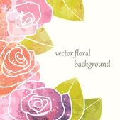 Vector watercolor postcard with beautiful roses. — Stock Vector
