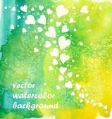 Watercolor background with hearts. — Stock Vector