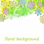 Watercolor floral background. — Stock Vector