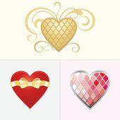 Conjunto de corações de cor. — Vetor de Stock