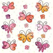 Background with hand-drawn butterflies — Stock Vector