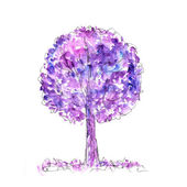 Watercolor purple tree — Stock Photo