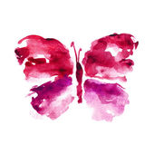 Red watercolor butterfly — Stock Photo