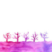Watercolor landscape with trees — Stock Photo