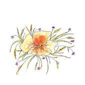Watercolor orange flower — Stock Photo