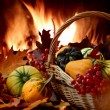 Autumn nature concept. Colorful pumpkins in basket — Stock Photo
