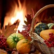 Autumn nature concept with colorful pumpkins in basket — Stock Photo