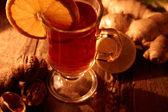 Winter tea with oranges — Stock Photo