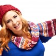 Happy young woman in winter clothes — Foto Stock