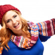 Happy young woman in winter clothes — Stok fotoğraf