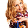 Winter and christmas shopping. Woman holding shopping bags — Stock Photo #35200555