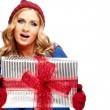 Winter smile woman hold gift box in hands, isolated over whit — Stock Photo