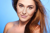 Woman with beauty long brown hair — Stockfoto