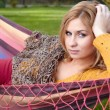 Young woman resting in a hammock  — Stock Photo