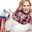 Winter and christmas shopping. Woman holding shopping bags — Stock Photo #36252141