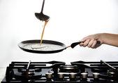 Making Pancakes on frying pan — Stockfoto