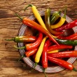 Red Hot Chili Peppers in bowl over wooden background — Stock Photo