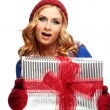 Christmas gift. Surprised beautiful girl — Stock Photo #51453031