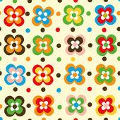 楽しい花とポルカ ドットのシームレスなパターン — ストックベクタ