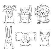 Söta tecknade djur set — Stockvektor