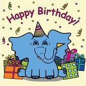 Happy birthday elepfant — Stock Vector