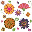 Psychedelic flowers set — Stock Vector