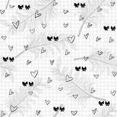 Feathers bows and hearts seamless pattern — Stock vektor