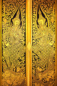 The Door,Pane Stripes Thai art into gold and black — Стоковое фото