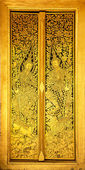 The Door,Pane Stripes Thai art into gold and black — Stock Photo