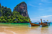 Many long tailed boat Mahya bay Krabi Thailand — Stock Photo