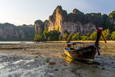 Long tailed boat Railay bay Krabi Thailand — Stock Photo