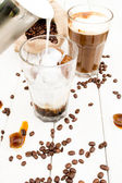 Cube in a glass of iced coffee. — Foto Stock
