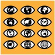 World map sign in the eye,eye sign,vision concept ,world symbol  — Stock Vector