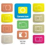 Set of digital camera icons, vector illustration — Stock Vector #35734161
