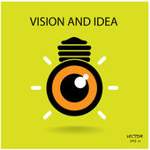 Vision and ideas sign,eye icon and busines logo, light bulb symb — Stock Vector