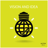 Vision and ideas sign,world icon and business logo, light bulb s — Stock Vector