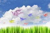 Paper birds on background — Stock Photo