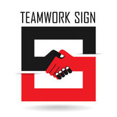 Handshake abstract sign vector design template. Business creativ — 图库矢量图片