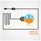 Creative light bulb sign — Stock Vector