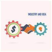 Creative handshake sign and industrial idea — Stock Vector