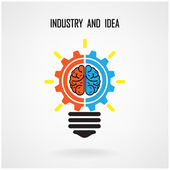 Creative light bulb concept and brain sign on background — Stock Vector