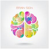 Creatieve jigsaw links en rechts hersenen hersenen teken — Stockvector