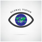 Global vision sign,eye icon,search symbol,business concept. — Stock Vector