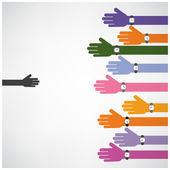 Support and help concept,teamwork hands concept,handshake concep — Stock Vector