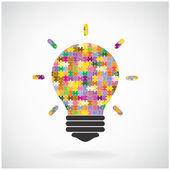 Creative puzzle light bulb Idea concept background,education con — Stock Vector