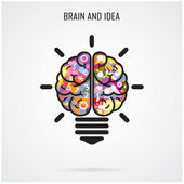 Creative brain Idea and light bulb concept,education concept — Wektor stockowy