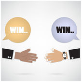 Win-win  concept ,businessman hands with speech bubble — Stock Vector