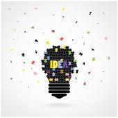 Creative puzzle light bulb Idea concept background — Stock Vector